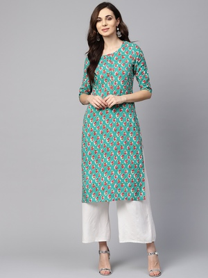 Myshka Women's Green Rayon Printed Regular Sleeves Round Neck Casual Kurta