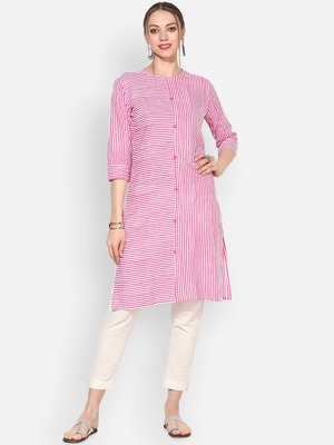 Myshka Women's Pink Cotton Printed Half Sleeve Round Neck Casual Kurta