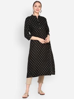 Myshka Women's Black Rayon Printed Half Sleeve Round Neck Casual Kurta