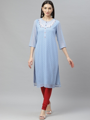Myshka Women's Blue Dobby Chiffon Printed  3/4 Sleeve Round Neck Casual Kurta