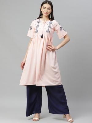 Myshka Women's PINK Ravera Crepe 100% Polyester Printed  Half Sleeve Round Neck Casual Kurta
