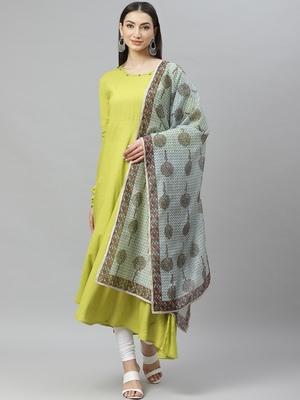 Myshka Women's Green Cotton Solid  Full Sleeve Round Neck Casual Anarkali Kurta With Dupatta