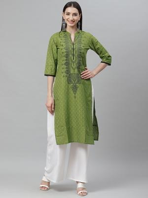 Myshka Women's Green cotton Printed  3/4 Sleeve Mandrin Neck Casual kurta