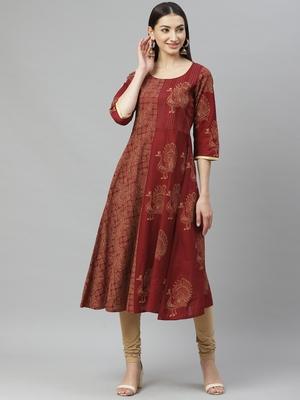 Myshka Women's Maroon cotton Printed  3/4 Sleeve Round Neck Casual Anarkali Kurta