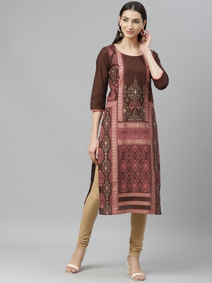 Myshka Women's Maroon cotton Printed 3/4 Sleeve Round Neck Casual kurta