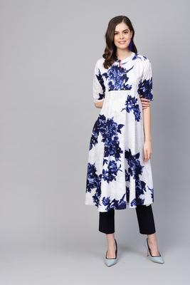 Myshka Women's White Polyester Half Sleeve Round Neck Printed Kurti