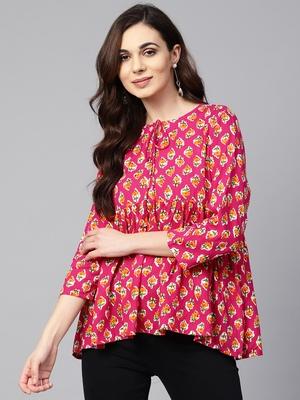 Myshka Women's Pink Printed 3/4 Sleeve Round Neck Viscose Rayon Casual Top