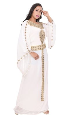Moroccan Dubai Kaftan Evening Royal Gown White Georgette Zari Glass Stone Work