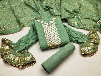 Green sequins cotton silk salwar