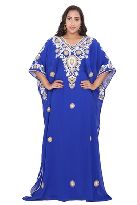 Moroccan Dubai Kaftan Evening Royal Blue Georgette Aari Stone Work