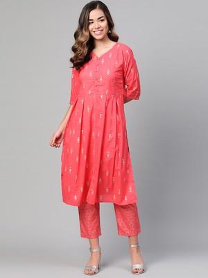 Myshka Women's Pink Cotton Printed Half Sleeve Casual Kurta Palazzo