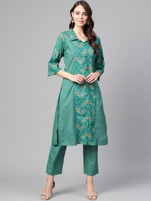 Myshka Women's Green Cotton Printed Half Sleeve Casual Kurta Palazzo
