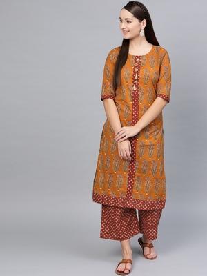Myshka Women's Brown Cotton Printed Half Sleeve Round Neck Casual Kurta Palazzo Set