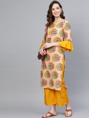 Myshka Women's Multi Cotton Printed Half Sleeve Round Neck Casual Kurta Palazzo Set