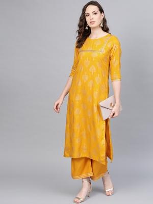 Myshka Women's Yellow Cotton Printed Half Sleeve Round Neck Casual Kurta Palazzo Set