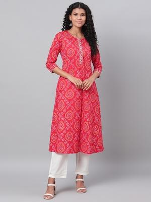 Myshka Women's Red Printed 3/4 Sleeve Cotton Round Neck Casual Kurta & Pant Set