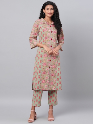 Myshka Women's Multi Printed Full Sleeve Cotton Shirt Coller Casual Kurta &  Palazzo Set