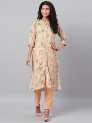 Myshka Women's Green Printed 3/4 Sleeve Poly Cotton Round Neck  Kurta & Pant Set