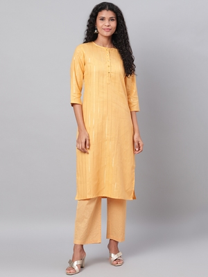 Myshka Women's Yellow Printed 3/4 Sleeve Polyester Round Neck  Kurta & Pant Set