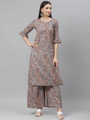 Myshka Women's Grey Cotton Linen  Printed  Half Sleeve Round Neck Casual Kurta Palazzo Set