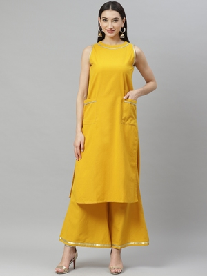 Myshka Women's Mustrd cotton solid  sleeveless Round Neck Casual kurta Palazzo Set