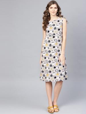 Myshka Women's Multi Poly Crepe Printed Sleveeless Round Neck Dress