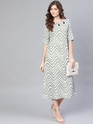 Myshka Women's Grey Cotton Solid Half Sleeve Round Neck Dress
