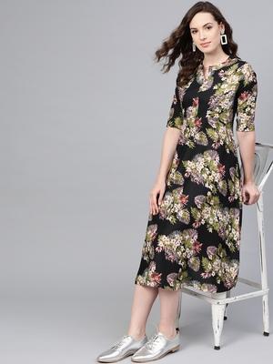 Myshka Women's Multi Polyester Printed 3/4 Sleeve Mandarin Collar Casual Dress