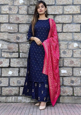 Women's  Blue gold Printed Kurti Palazzo Set with  Printed Pink Duptta || Party Wear