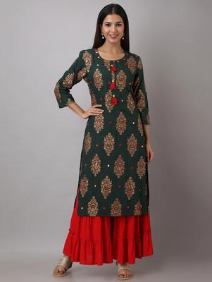 Women Rayon Printed Kurta sharara set