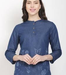 Navy-blue printed denim crop-tops