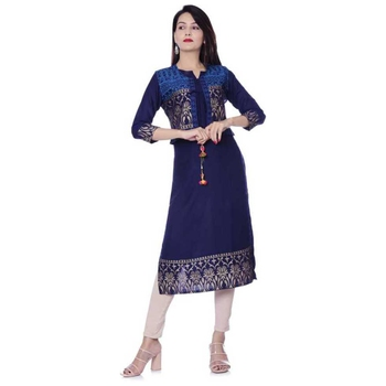 Women's Gold Printed Kurti With Jacket