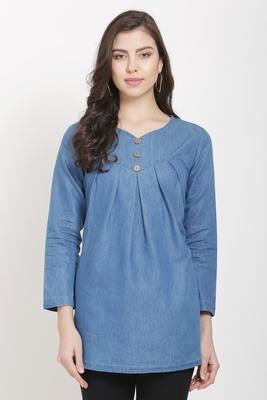 Blue printed denim tunics