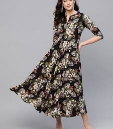 Myshka Women's Multi Crepe Printed 3/4 Sleeve Round Neck Dress