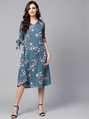 Myshka Women's Blue Polyester Printed Half Sleeve V Neck Dress