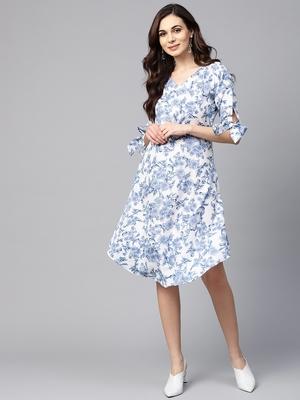Myshka Women's Blue Polyester Printed Half Sleeve Round Neck Dress