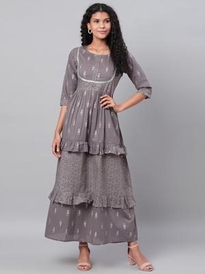 Myshka Women's Grey Printed 3/4 Sleeve Cotton Round Neck  Dress
