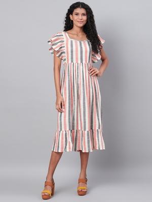 Myshka Women's Multi Printed Sleeveless Cotton Square  Neck  Dress