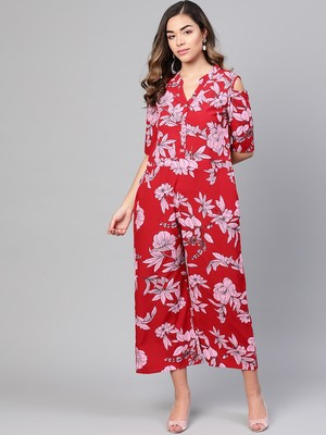 Myshka Women's Red Polyester Printed Half Sleeve Casual Jumpsuit