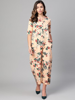 Myshka Women's Peach Polyester Printed Half Sleeve Casual Jumpsuit