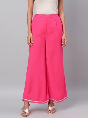 Myshka Women's Pink Solid Na Polyester Na  Palazzo