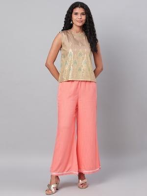Myshka Women's Orange Solid Na Polyester Na  Palazzo