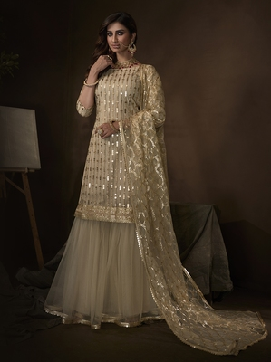Off-white embroidered net salwar