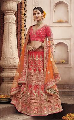 Light-red embroidered silk semi stitched lehenga