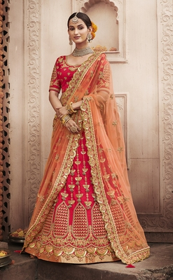 Scarlet-red embroidered silk semi stitched lehenga