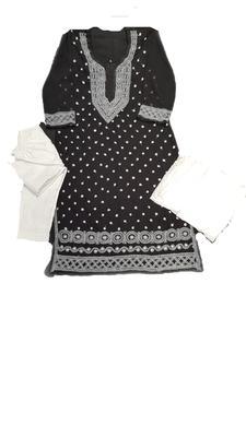 Black embroidered georgette georgette-kurtis