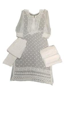 White embroidered georgette georgette-kurtis