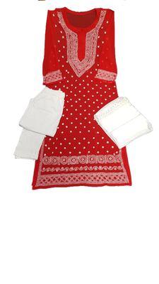 Red embroidered georgette georgette-kurtis