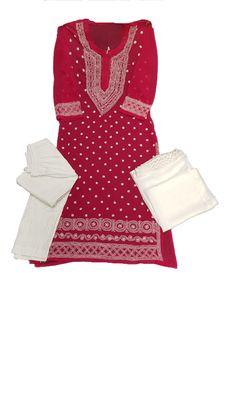 Dark-pink embroidered georgette georgette-kurtis