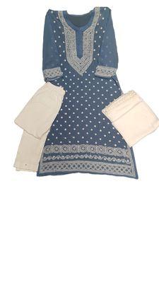 Slate-grey embroidered georgette georgette-kurtis